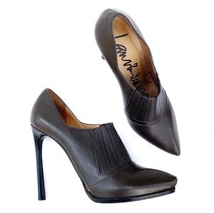 LANVIN Olive Leather Stiletto High Heels Size 39.5